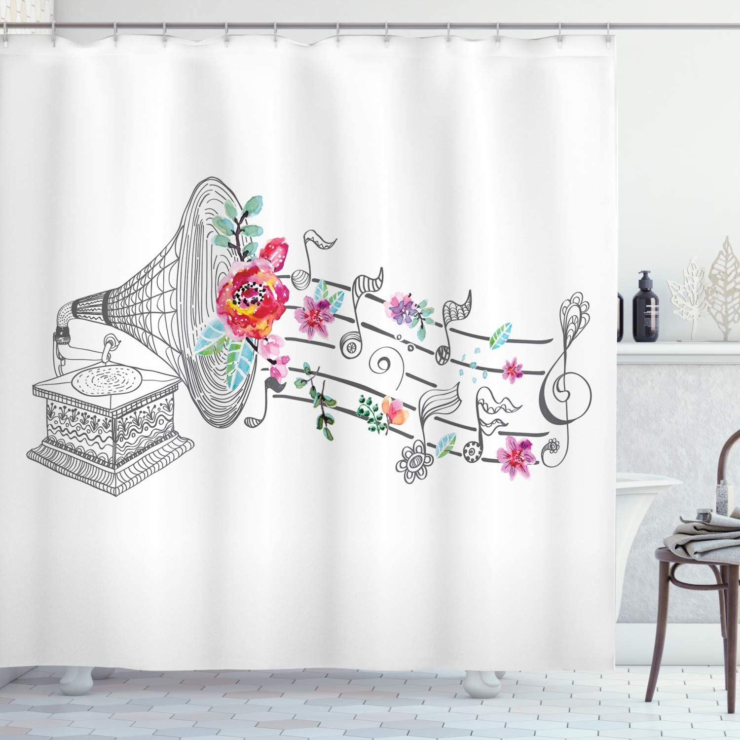 """Ambesonne Music Shower Curtain, Vintage Style Gramophone Record Player with Floral Ornament Blossom Antique, Cloth Fabric Bathroom Decor Set with Hooks, 70"""" Long, Grey Pink"""