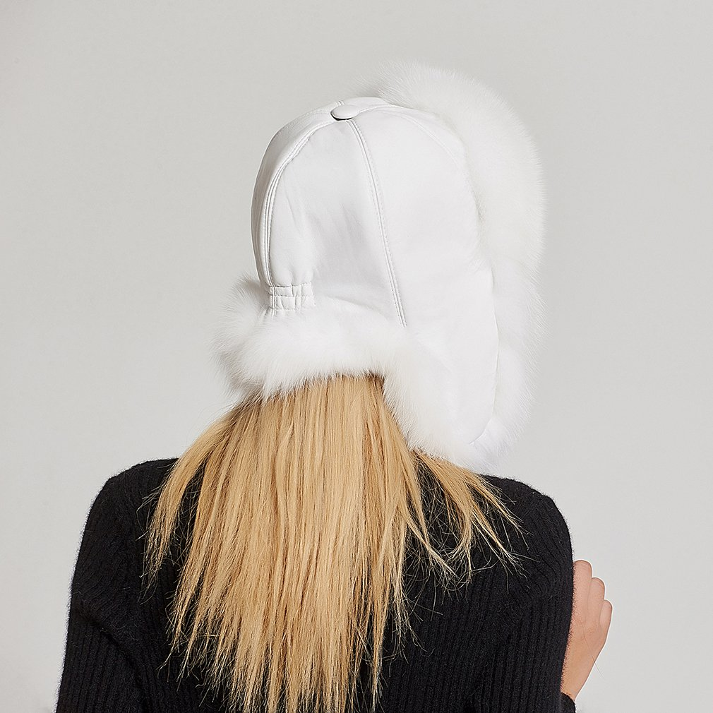 Fur Story Women's Trapper Hat with Sheep Leather Earmuffs Warm Winter Fur Hat (White) by Fur Story (Image #6)