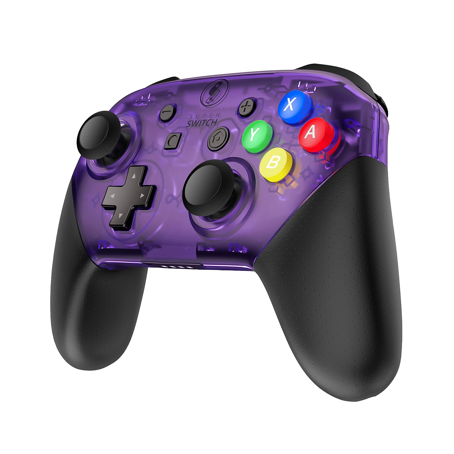 MASCARRY Replacement Shell Case for Switch Pro Controller, Super Switch DIY Transparent Faceplate and Backplate Case With Replacement Buttons for Switch Pro Controller (Atomic Purple) by MASCARRY