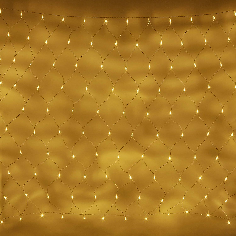 Lights4fun - Rete di Luci Prolungabile 2mx1.5m con 140 LED Bianco Caldo su Cavo Trasparente per Interni ed Esterni
