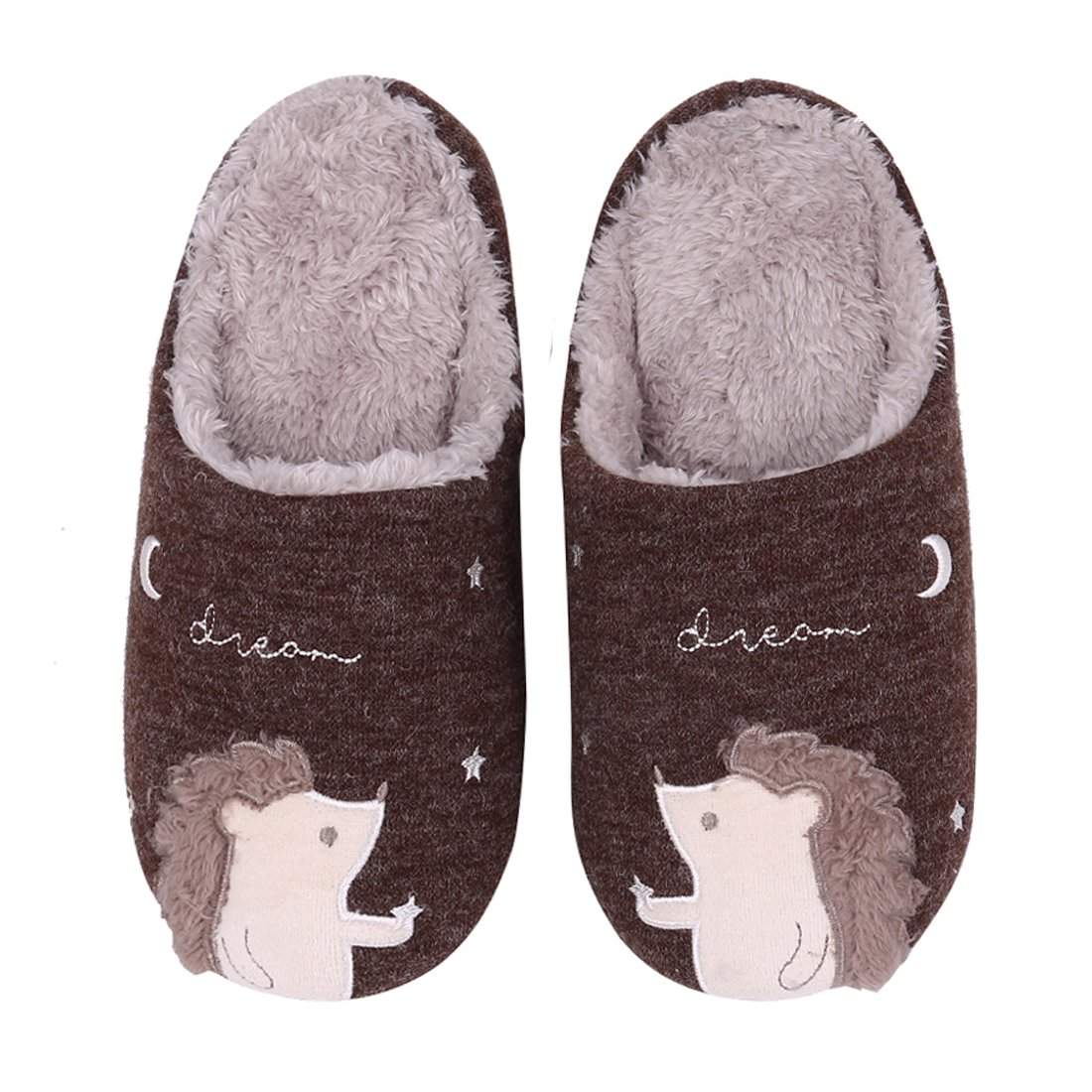 Animal House Slippers for Women Fuzzy Hedgehog Home Shoes Waterproof Sole Indoor Slippers