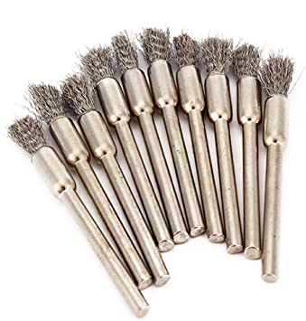 """Pen Shape 8MM End Brushes Stainless Steel Wire Brush Drill End 1//8/"""" Shank 10pcs"""