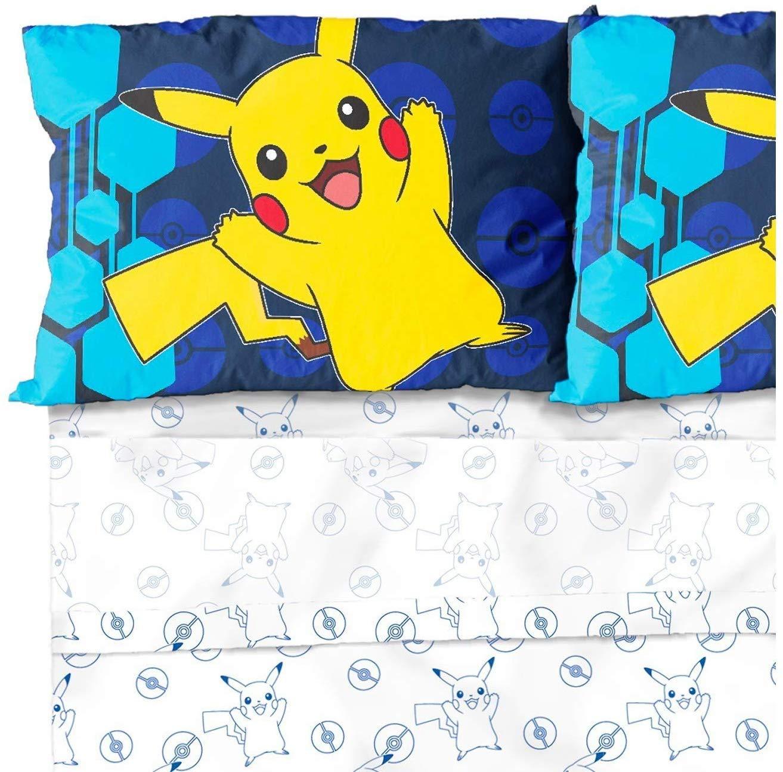 Kids Warehouse Pokémon Pikachu Yellow and Blue Twin Sheet Set