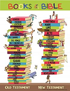 """Books of the Bible Learning Chart Poster 17"""" x 22"""" For Home Church Or Sunday Bible School"""