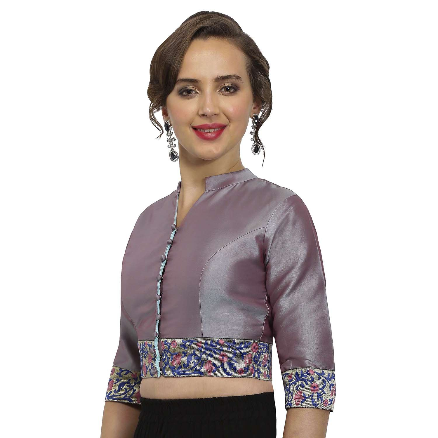 27e502229f1c79 JustB Grey Polysilk V-Neck Readymade Blouse  Amazon.in  Clothing    Accessories