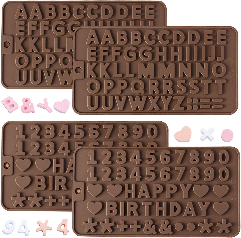 AFUNTA - Molde de silicona para chocolate, 2 moldes de letras y 2 moldes de chocolate con números con símbolos de decoración de pasteles de cumpleaños para galletas, chocolate, dulces, gelatina