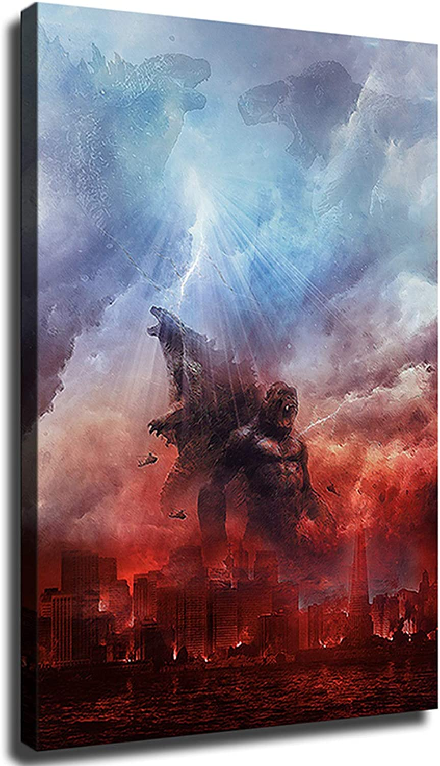 Godzilla Vs King Kong 2021 Movie Poster Canvas Wall Art HD Print Poster Mural (24x36inch,01-Canvas roll)