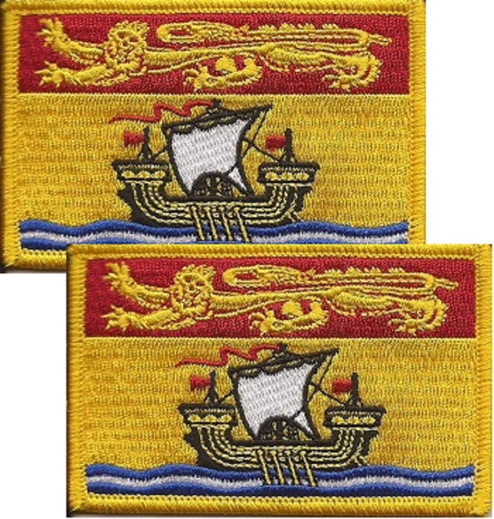 Free Shipping Pack of 2 New Brunswick Flag Patches; 8.9cm x 5.7cm Canadian Territory and Provinces Embroidered Iron On or Sew On Flag Emblem Tactical Morale Embroidered Patch