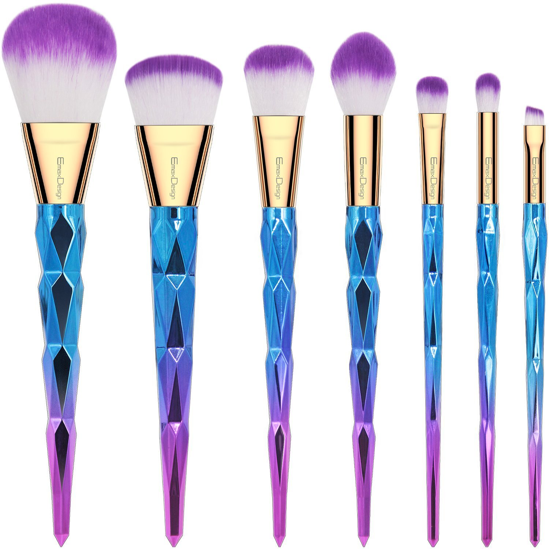 EmaxDesign Makeup Brushes 7 Pieces Colorful Diamond Patterned Shaped Handle Makeup Brush Set Professional Foundation Blending Blush Eye Face Liquid Powder Cream Cosmetics Brushes Kit