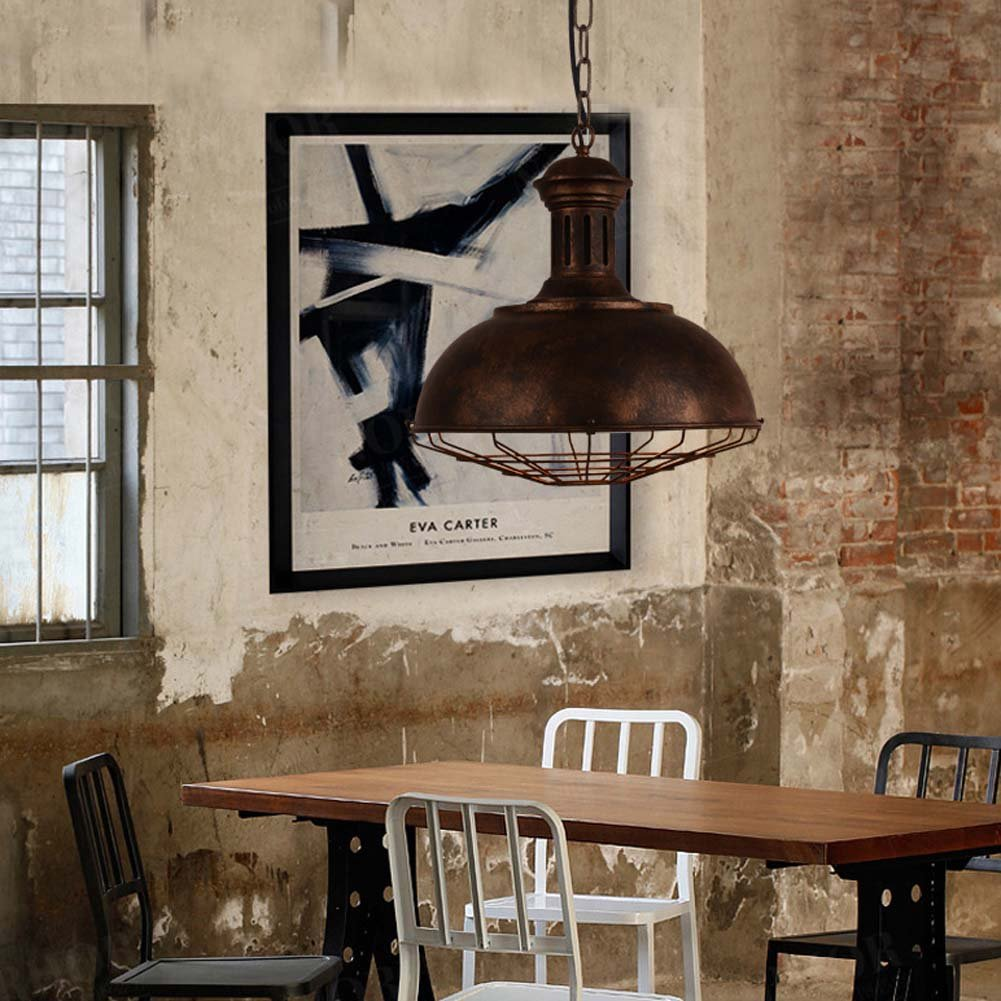 Neo-Industrial Nautical Barn Cage Pendant Light - LITFAD 16'' Single Pendant Lamp with Rustic Dome/Bowl Shape Mounted Fixture Ceiling Light Chandelier in Copper by LITFAD (Image #6)