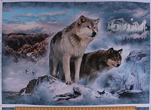 North American Wildlife Wolves Quilting Cotton Fabric Panel Wall Hanging Wolf