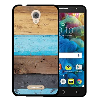 WoowCase Funda para Alcatel Pop 4, [Alcatel Pop 4 ] Silicona Gel Flexible Pared de Madera, Carcasa Case TPU Silicona - Negro