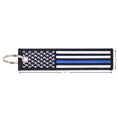 American Flag Keychain Tag with Key Ring and Carabiner - Keys, Cars, Motorcycles, Backpacks, Luggage, and Gifts - EDC (Thin Blue Line)