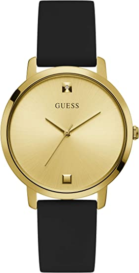 GUESS Women's Stainless Steel Analog Watch with Silicone Strap
