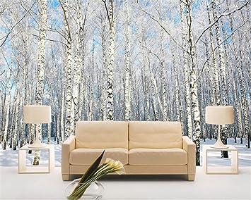 Wapel Foto 3d Tapete Winter Wald Schnee Landschaft Birke Natur