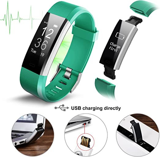Pulsera Actividad,Monitor de Frecuencia Cardiáco, Pulsera Reloj Inteligente con Pulsómetro Impermeable IP67, Bluetooth 4.0, Podómetro, Notificación de SMS, Monitor de Ritmo Cardíaco,Monitor de Sueño, GPS, Control Remoto de Móvil para iOS 7.0