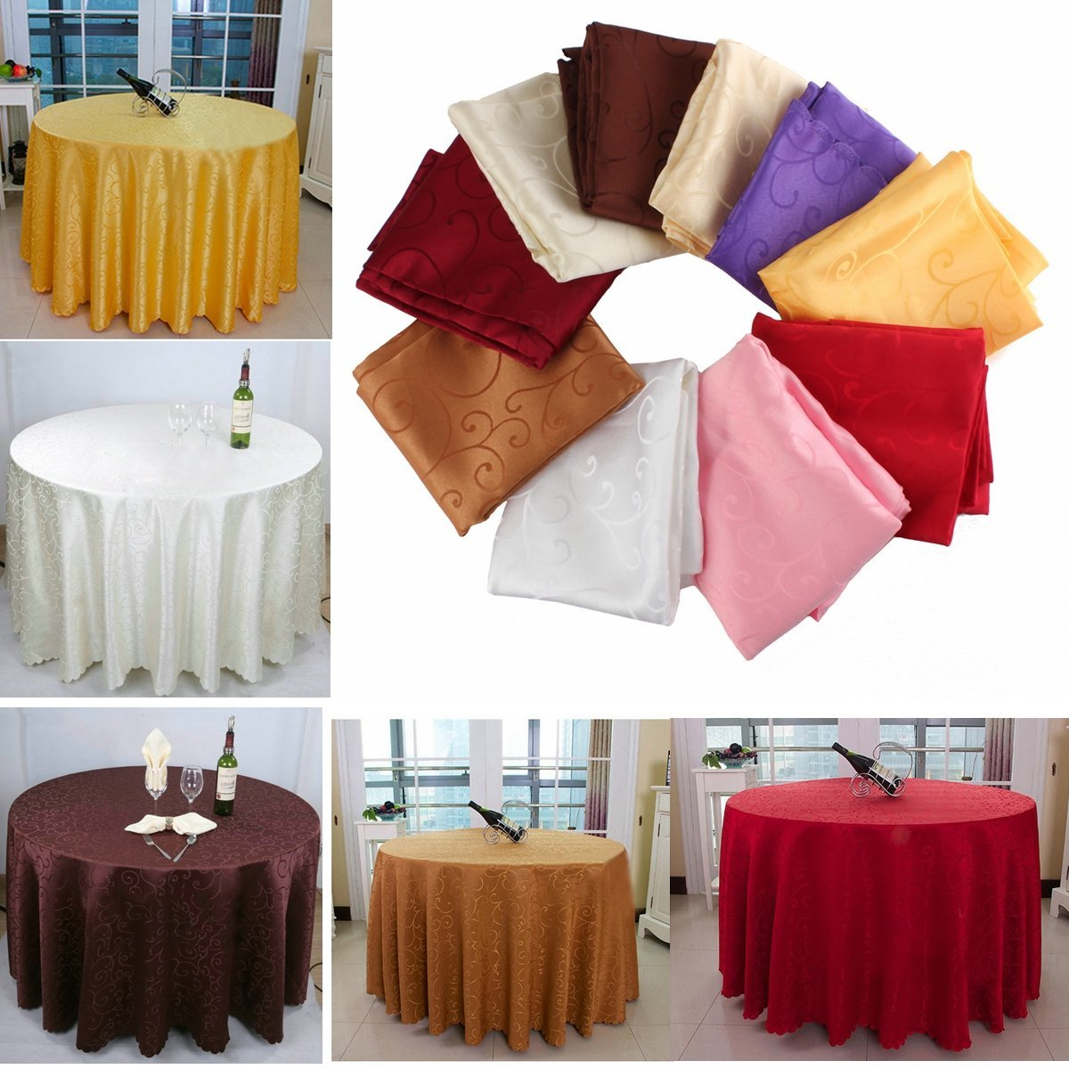 Bazaar 180cm Polyester Absorbent Round Tablecloth For Hotel Restaurant Wedding Decor