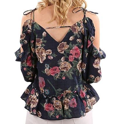 LILICAT® Camisetas de moda para mujer, 2018 Blusas de manga larga con estampado de