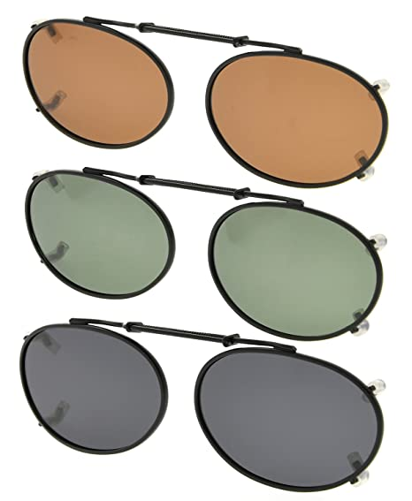 80a1b910e2 Amazon.com  Eyekepper Grey Brown G15 3-pack Oval Clip-on Polarized ...