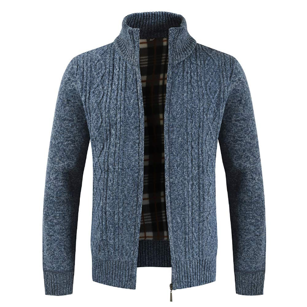 Close-dole Cotton Knitted Cardigan Full Zip Sweater Outwear Tops Coats Slim Fit Stand Collar Sweater Casual Thick Warm Jacket Blue by Close-dole