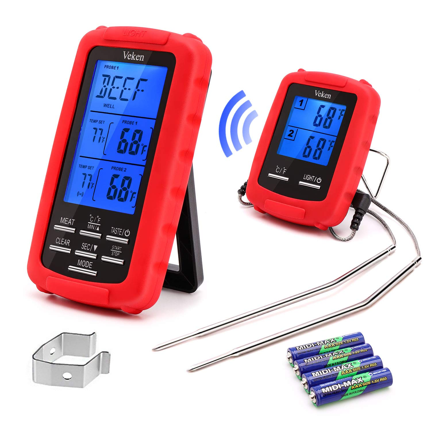 Veken Wireless Digital BBQ Meat Thermometer Remote Cooking Food Grill Thermometer with Dual Probes for Grilling Oven Smoker Thermometer Kitchen Tools, Battery Included (230 Feet), Red by Veken