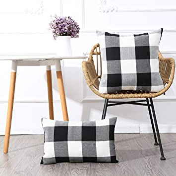 MKLFBT Pack of 2 Farmhouse Burlap Linen Lumbar Pillowcovers Black White Buffalo Checkers Plaids Square Throw Pillow Cases Home Decor Cushion Case for ...