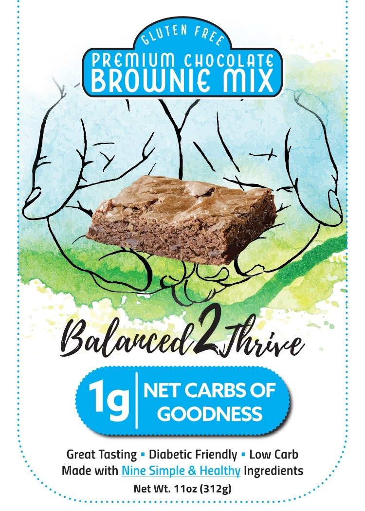 Balanced2Thrive Gluten Free Low Carb  Diabetic Friendly  Premium Chocolate Brownie Mix, 11oz by Balanced2Thrive, LLC