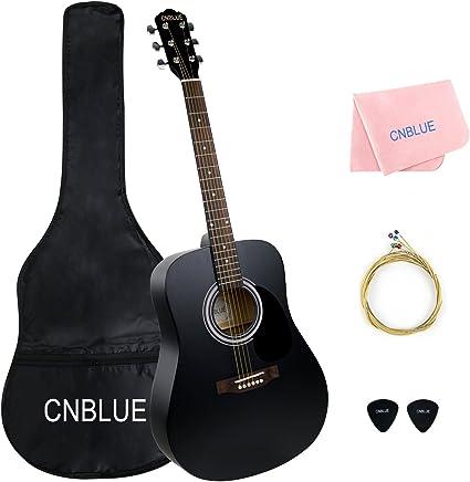 Guitarra acústica negra 41 pulgadas tamaño completo cuerdas ...
