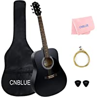 41 inch Acoustic Guitar Starter Kits Full Size Student Steel String Acoustic Guitar Package with Bag Wipe Picks Extra String (Dreadnought)