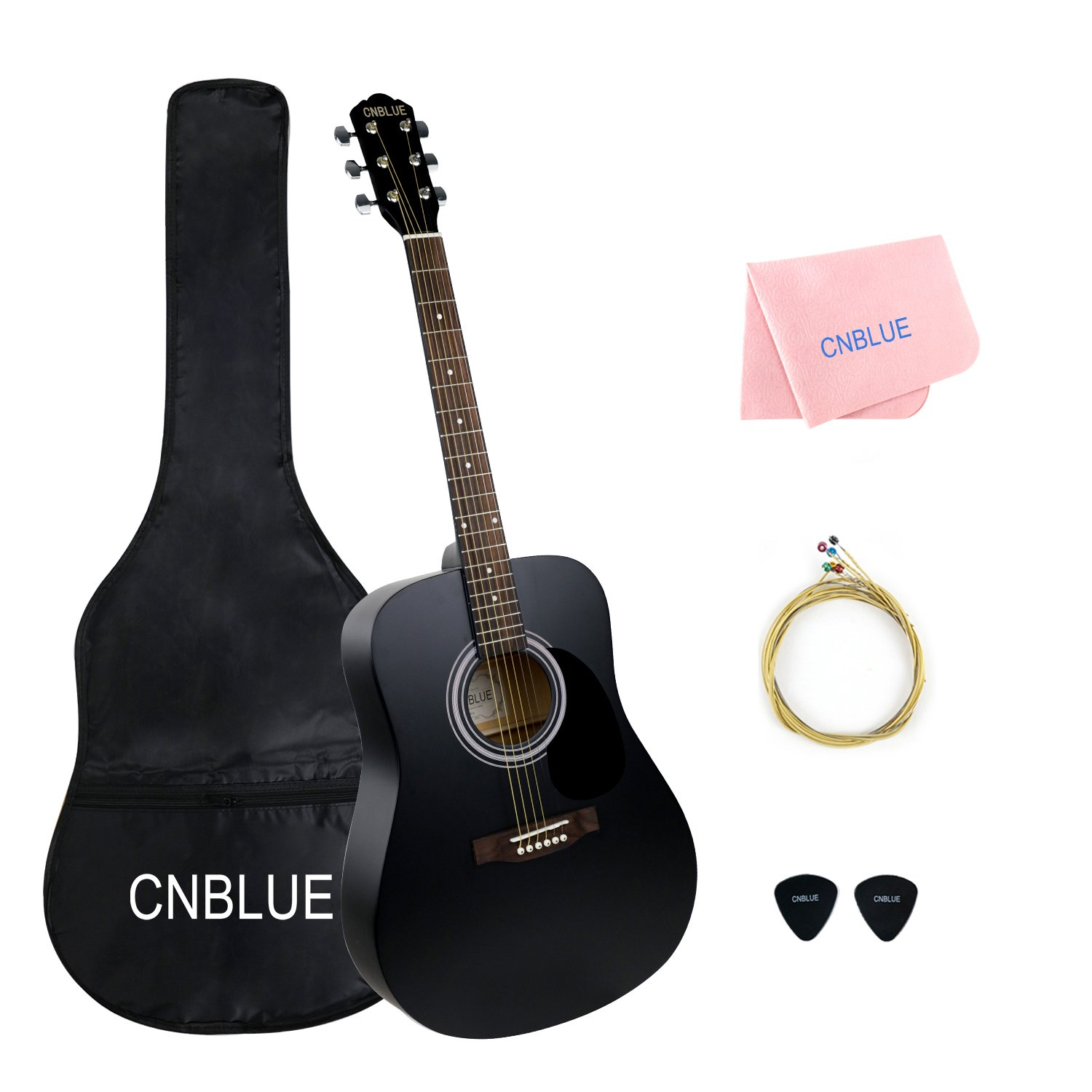 41 inch Acoustic Guitar Starter Kits Full Size Student Steel String Acoustic Guitar Package with Bag Wipe Picks Extra String (Dreadnought) CNBLUE CB-41YHZ