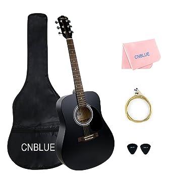 Guitarra acústica negra 41 pulgadas tamaño completo cuerdas metálicas kit de funda, púas, cuerdas extras, paño de limpieza para principiantes estudiantes: ...