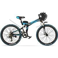 """LANKELEISI K660 26"""" vélo électrique Pliant, VTT 240W, Cadre en Acier à Haute teneur en Carbone, Suspension Avant et arrière (Plus 1 Batterie de Rechange)"""