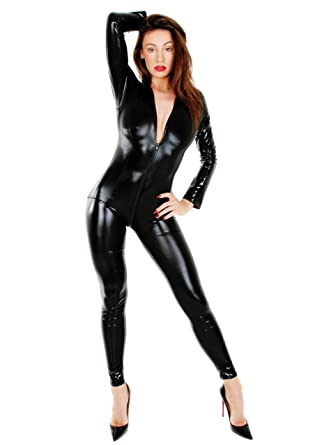 9d3746205c Sexyclothingltd Womens Black Catsuit PVC Catwoman Outfit Longsleeved  Bodysuit Wetlook Jumpsuit Fetish Dominatrix Outfit. UK Seller Ref 157   Amazon.co.uk  ...