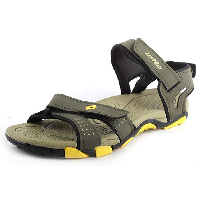 Lotto Men's Olive Yellow Sandals and Floaters Sandals & Floaters at amazon