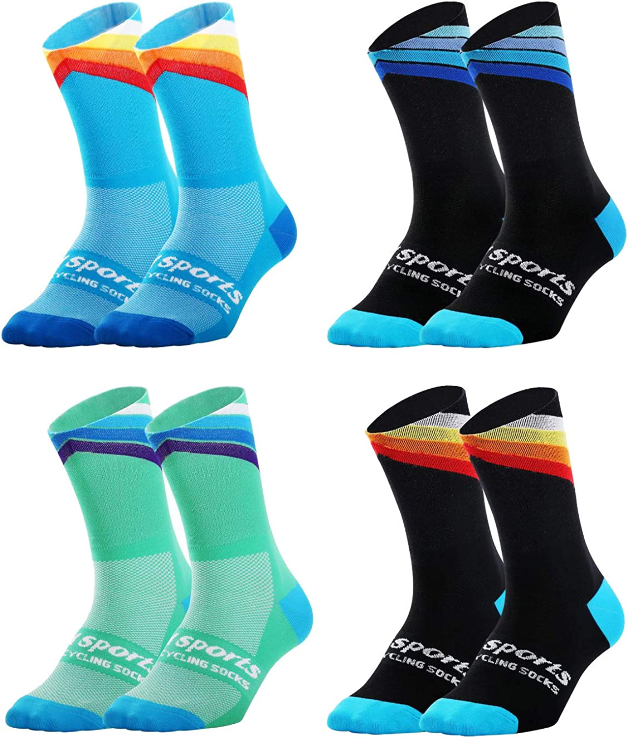 VWU Mens Womens Sports Socks Athletic Socks for Running Cycling Basketball Hiking More