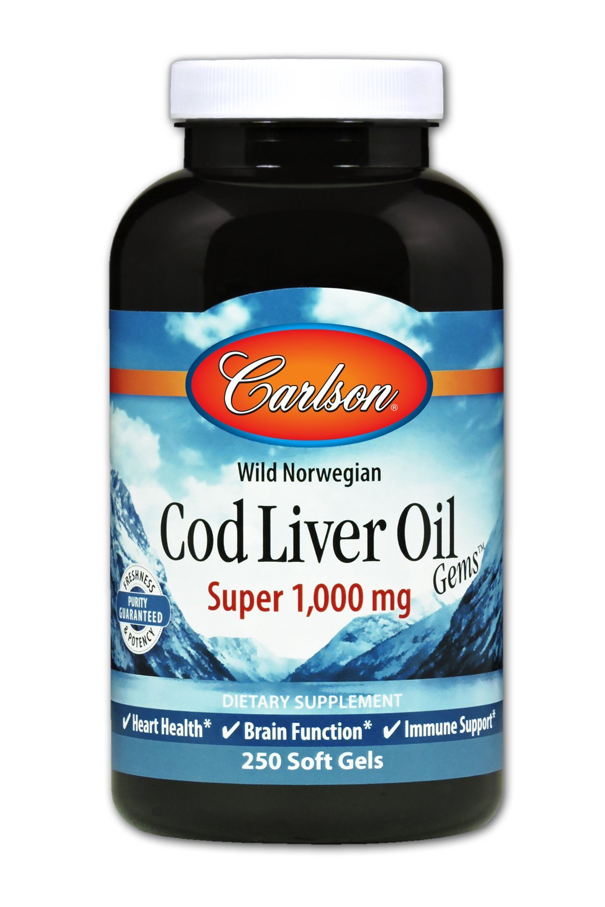 Carlson - Cod Liver Oil Gems, Super 1000 mg, 250 mg Omega-3s + Vitamins A & D3, Wild-Caught Norwegian Arctic Cod-Liver Oil, Sustainably Sourced Nordic Fish Oil Capsules, 250 Softgels