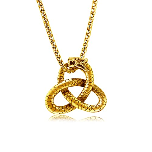 c714ed4d94 FCZDQ 316L Stainless Steel Celtic Infinity Knot Dragon Pendant Mens  Necklace