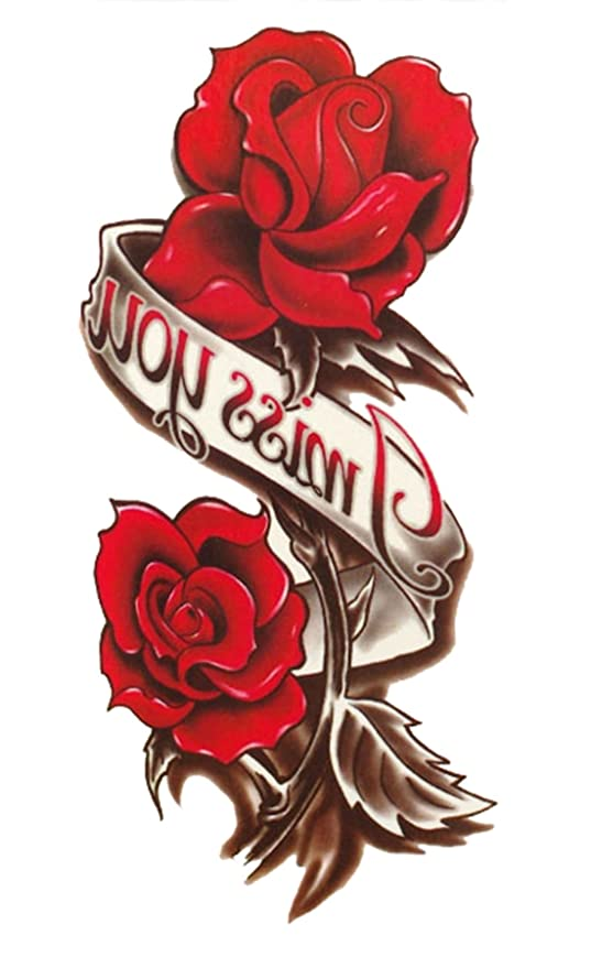 d213bbd9a Temporary Tattoo For Girls Men Women 3D Miss You Red Rose Sticker Size  20x10CM - 1PC.: Amazon.in: Beauty