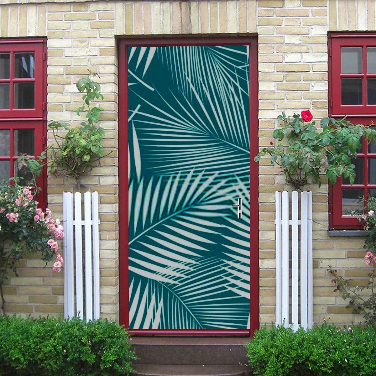Etiqueta de la puerta del arte moderno 3d, hojas de palmera de patrones sin fisuras Vector pelar y pegar etiqueta de la puerta de vinilo extraíble para la decoración del hogar, 30.3