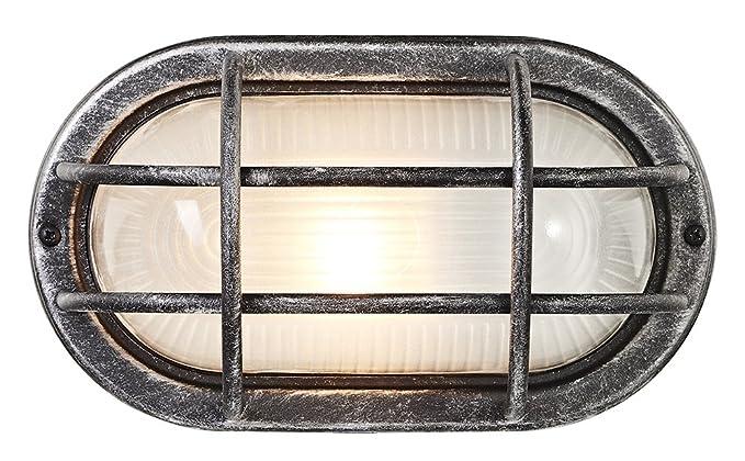 Lámpara de Pared para Exteriores, con Mampara Oval, de Aluminio Fundido, en Negro/Plata por Haysoms: Amazon.es: Iluminación