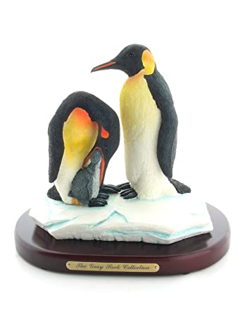 amazon com the gray rock collection penguins and baby sculpture