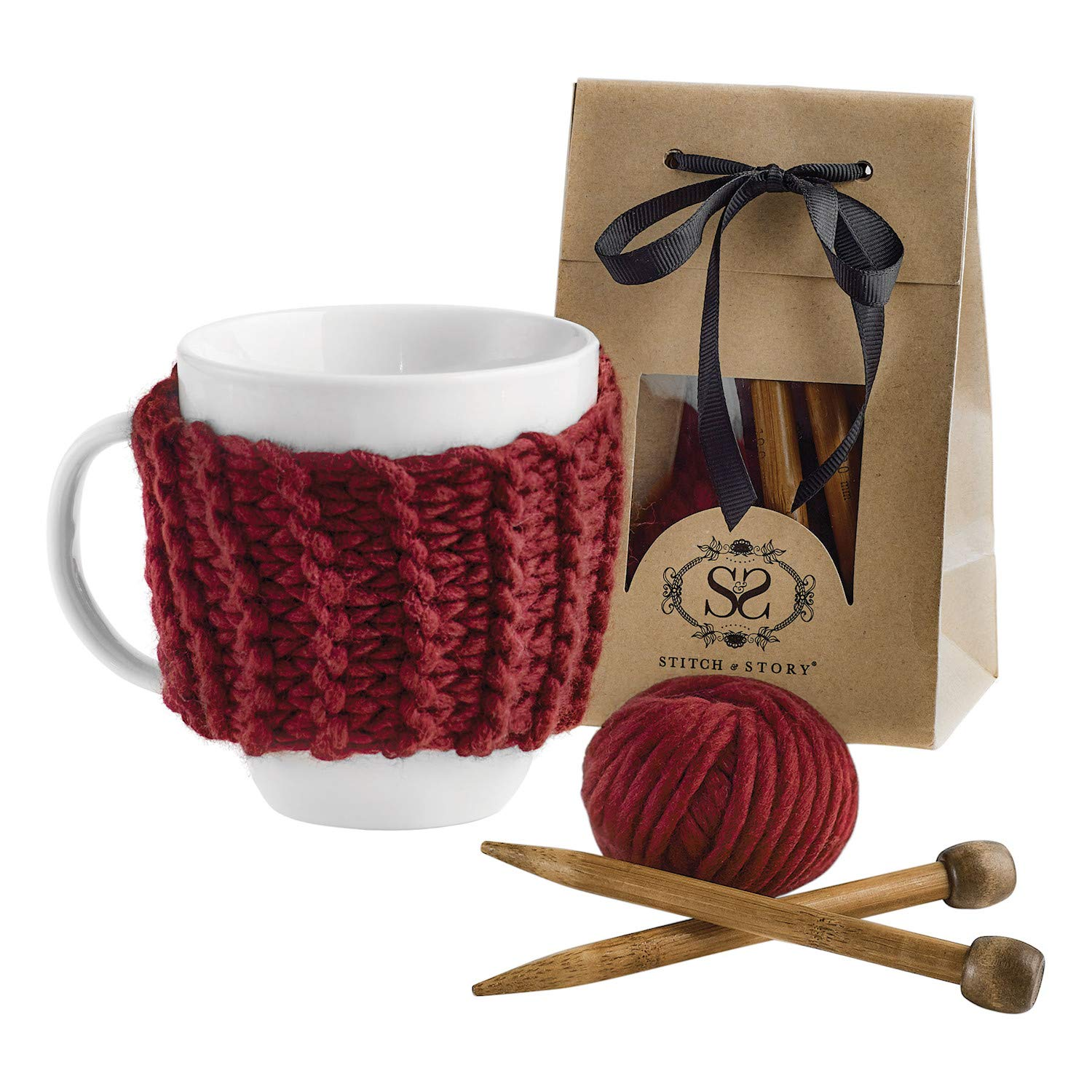 STITCH & STORY Cup Cozy Knitting Kit - Make Your Own Tea Coffee Cup Cosy 100% Merino Wool Yarn Knitting Needles Pattern