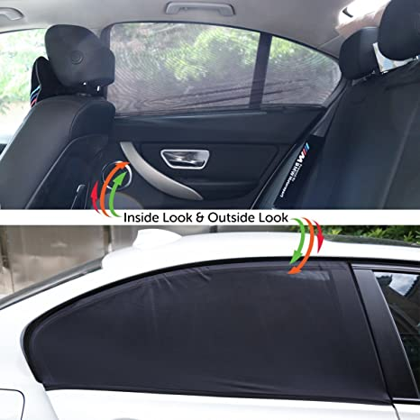 High Quality Black Car Rear Window UV Mesh Sun Shades Blind Sunshade Blocker To Protect Kids Children Pets From Harmfull UV Sun Heat For Volvo V40 V50 V70