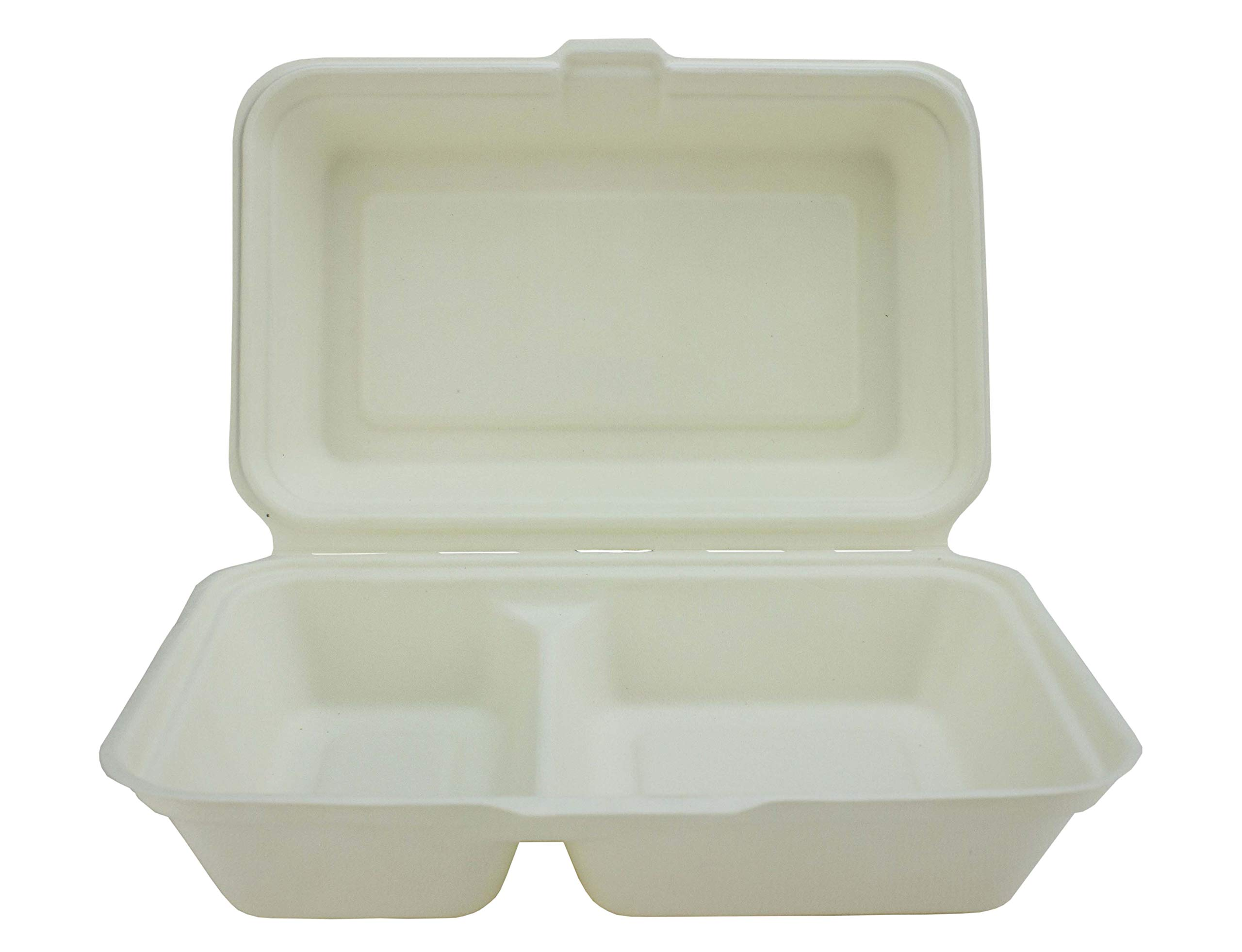 Bagasse 2 Compartment Burger Box - 240 x 155 x 75mm - Set of 50 - Super Rigid Biodegradable, Compostable, and Recyclable Disposable Food Boxes - Made from Natural Sugar Cane Pulp