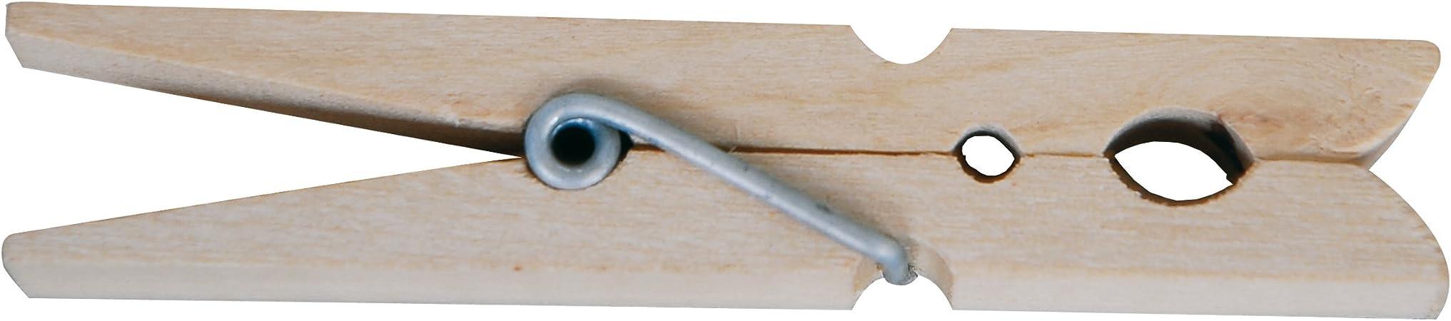 16 cm MSV Lote DE 24 Pinzas DE Madera Beige