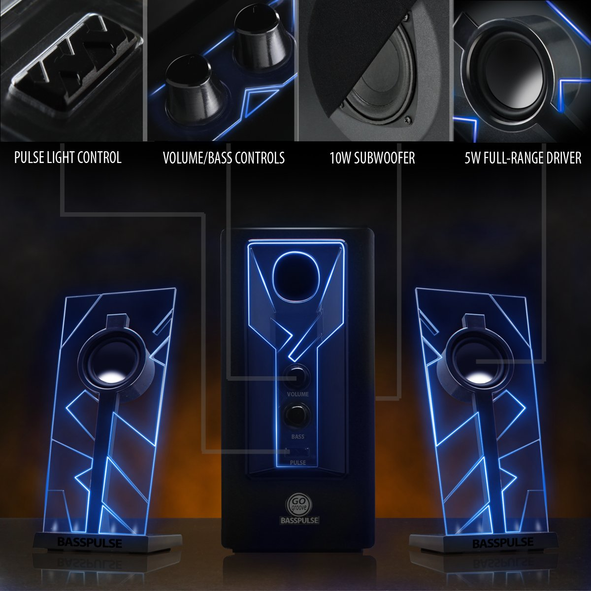 GOgroove BassPULSE 2.1 Computer Speakers with Blue LED Glow Lights and Powered Subwoofer - Gaming Speaker System for Music on Desktop, Laptop, PC with 40 Watts, Heavy Bass by GOgroove (Image #5)