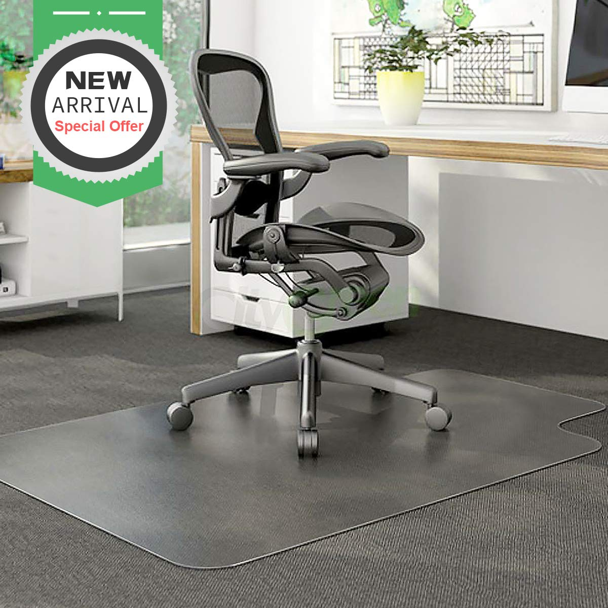 YOUKADA Office Desk Chair Mat for Hard Wood Floor Chair Mat Floor PVC Clear Protection Floor Mat,Chair PVC Plastic Mat, 48'' x 36'',Premium Quality Chair Mat Thick and Sturdy