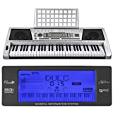 ReaseJoy 61 Keys Multifunctional LCD Display Digital Keyboard Electric Piano Music Talent Practice Designed for Beginners and Hobbyists Silver
