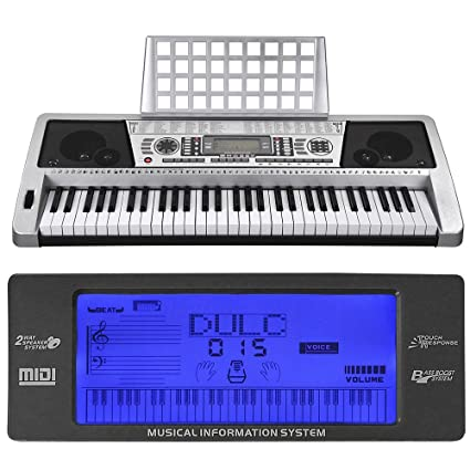 AW 61 Key LCD MIDI Silver Electric Keyboard Music Digital 37x14x5