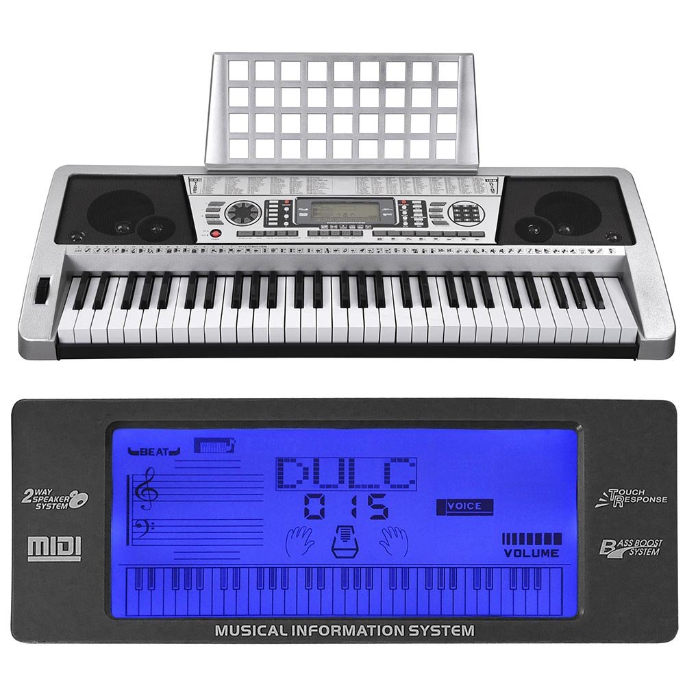 AW 61 Key LCD MIDI Silver Electric Keyboard Music Digital 37x14x5'' Personal Electronic Piano w/Manual